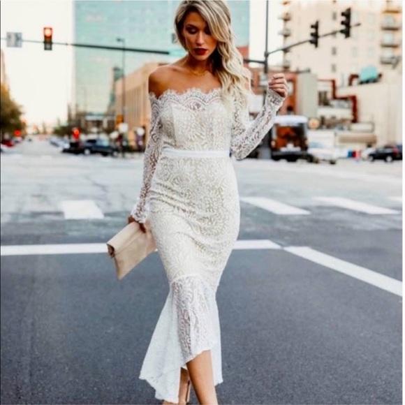 Vici white lace off the shoulder midi dress